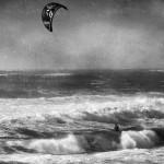 Kite Surfer in Black and White